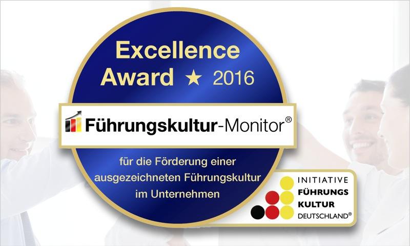 Der Führungskultur-Monitor Excellence Award 2016, für die Förderung einer ausgezeichneten Führungskultur im Unternehmen